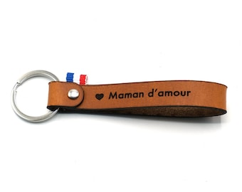 """Leather key ring """"Maman d'amour"""""""
