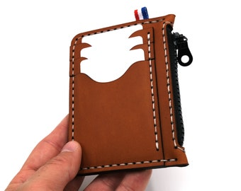 Leather Wallet, cards slots and coins pouch