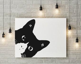 Black cat print,lurking cat print,cat printable art,cat wall art,cat print,black cat print,funny cat wall art,cat decor,cat printable art