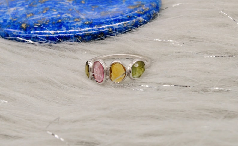 October Birthstone Rings For Women,Mothers Day Gift For Her 925 Sterling Silver Raw Gem Ring Green Tourmaline UK M Pink Tourmaline Ring
