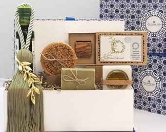 Olive Culture Gift Box - Gift Box with Cretan Goodies - Greek Xmas Gift to Send - Greek Gift for Client - Olive Wood Stamp and Coasters