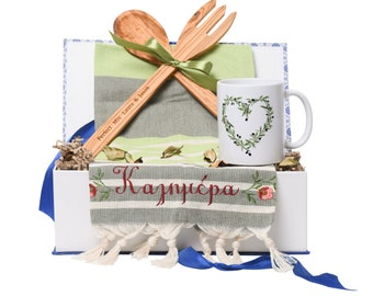 Christmas Brunch Gift Box - Personalised Gift to Send - Personalised Cooking Utensils - Engraved Wooden Spoon - Family Gift - New Home Gift