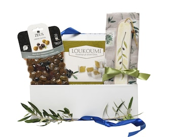 Olive Christmas Gift Box - Greek Gift Box with Olive Delicacies - Christmas Gift - Mother Gift - Greek Olive Basket - Greek Gift for Client