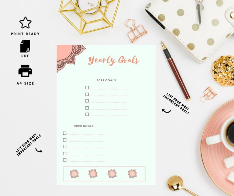 2019 Year goal printable, A5 A4 PDF, Productivity,Planner insert, Gift for  her,Goal Digger,Goal list,Digital Goal List,Perfect Planning