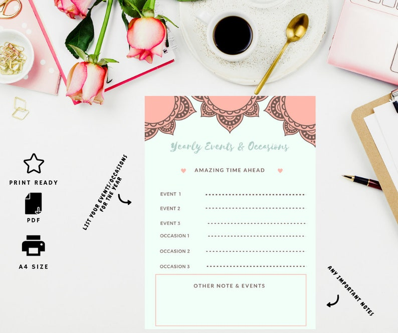 2019 Year events printable, A5 A4 PDF, Productivity,Planner insert, Gift  for her,Goal Digger,Goal list,Digital Goal List,Perfect Planning