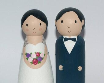 Wedding Cake Topper - Custom Cake Topper - Bride and Groom Cake Topper - Unique Cake Topper - Bride and Groom Cake Topper - Cake Topper