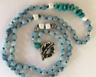 Turquoise and Aquamarine Gemstones Hand Knotted Necklace