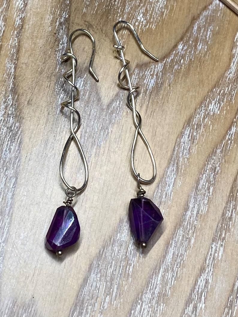 Daughter Valentine gift Amethyst wire wrapped earrings Best friend jewelry artisanal swirl earrings Long purple amethyst earrings
