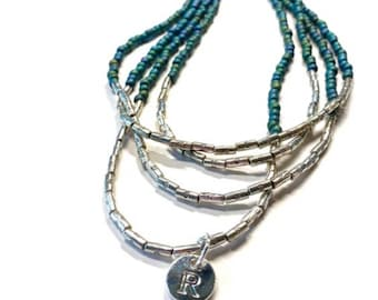 Blue seed bead multistrand necklace, Personalized dainty beaded necklace, Custom short silver jewelry, Handmade gift for mom