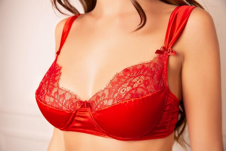 362488f471 Red lace bra red bra sexy red bra red silk bra silk bra