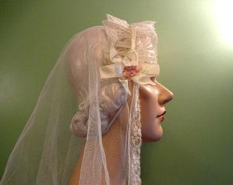 3c57f68dfb41b Beautiful Antique Vintage 1920s 1930s Wedding Veil Flapper Headdress  Headpiece Art Deco Bridal Bride Hat Downton Abbey Ribbonwork Rosettes