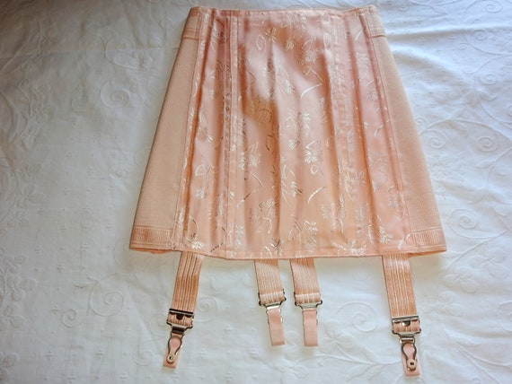 Vintage 1940s 1930s Peach Tea Rose Damask Brocade… - image 3