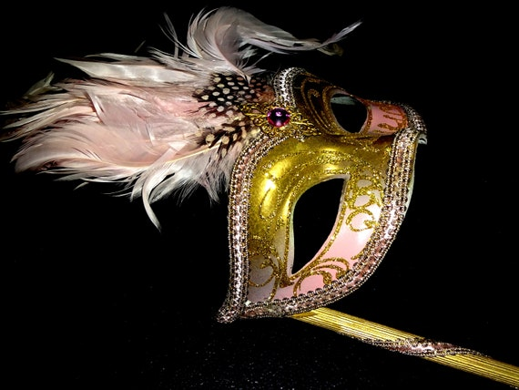 Pink & Gold  Genuine Venetian Mask From Murano Ma… - image 2