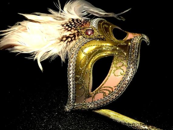Pink & Gold  Genuine Venetian Mask From Murano Mas