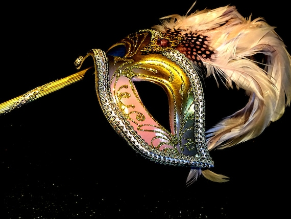 Pink & Gold  Genuine Venetian Mask From Murano Ma… - image 5