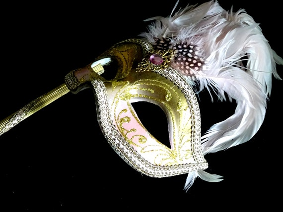 Pink & Gold  Genuine Venetian Mask From Murano Ma… - image 7