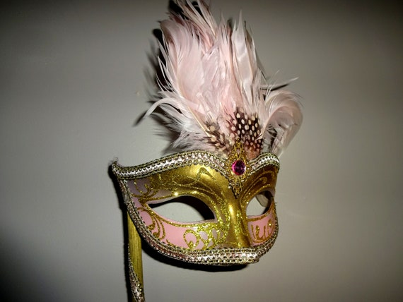 Pink & Gold  Genuine Venetian Mask From Murano Ma… - image 4