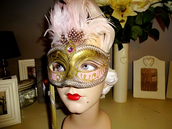 Pink & Gold  Genuine Venetian Mask From Murano Ma… - image 3