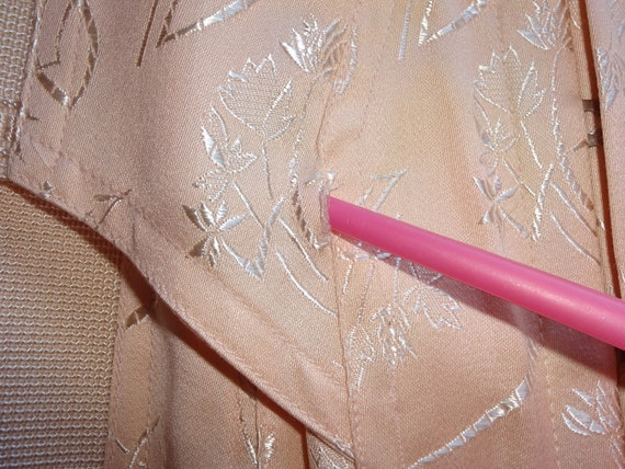 Vintage 1940s 1930s Peach Tea Rose Damask Brocade… - image 10