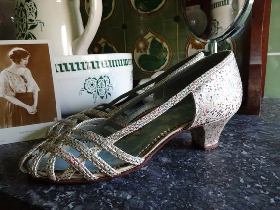 Vintage 1930s 1940s Evening Shoes Dance Shoes Gold