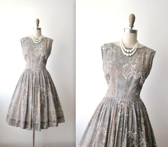 Vintage 1950s Fit & Flare Tea Dress Garden Party D