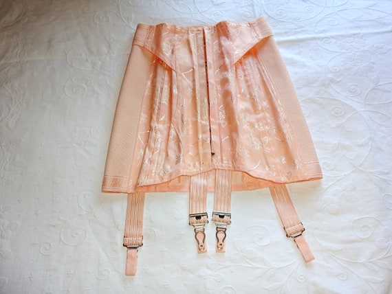 Vintage 1940s 1930s Peach Tea Rose Damask Brocade… - image 2