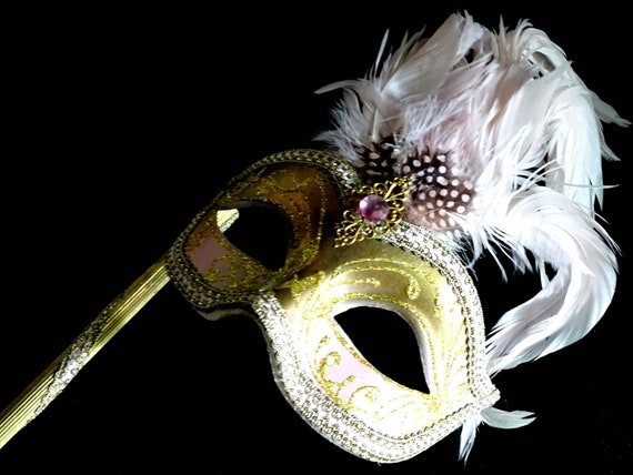 Pink & Gold  Genuine Venetian Mask From Murano Ma… - image 6