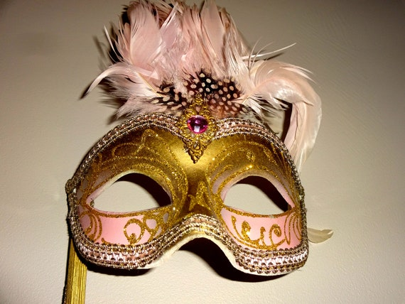 Pink & Gold  Genuine Venetian Mask From Murano Ma… - image 8