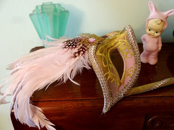 Pink & Gold  Genuine Venetian Mask From Murano Ma… - image 9