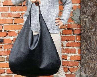 BLACK LEATHER HOBO Bag - Oversize Shoulder Bag - Everyday Crossbody Leather  Purse - Soft Leather Handbag for Women c56242abbc