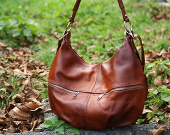 f6780acd2a COGNAC Brown LEATHER HOBO Bag - Everyday Crossbody Leather Purse - Leather  Handbag - Women s Shoulder Leather Bag