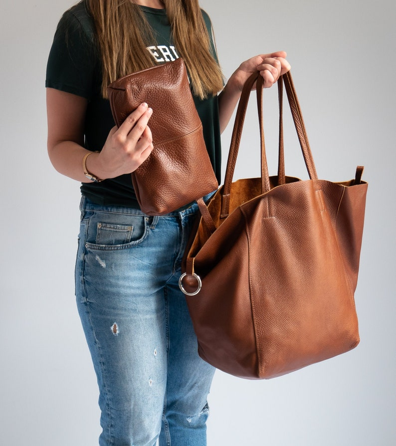 c0aaf1f46dc BROWN OVERSIZE SHOPPER Bag - Brown Leather Shoulder Bag - Big Tote Bag -  Large Tote - Shopping Bag - Large Everyday Purse - Travel Bag