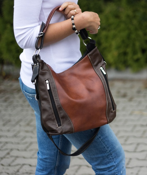 0f6b11597981 Brown LEATHER HOBO Bag SHOULDER Bag Crossbody Purse for