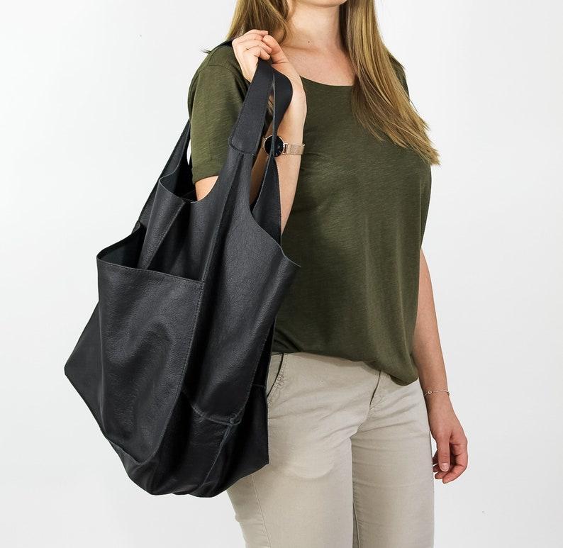 SHOULDER HOBO BAG Oversize Leather Bag Large Leather Tote  98174a9dd6e07