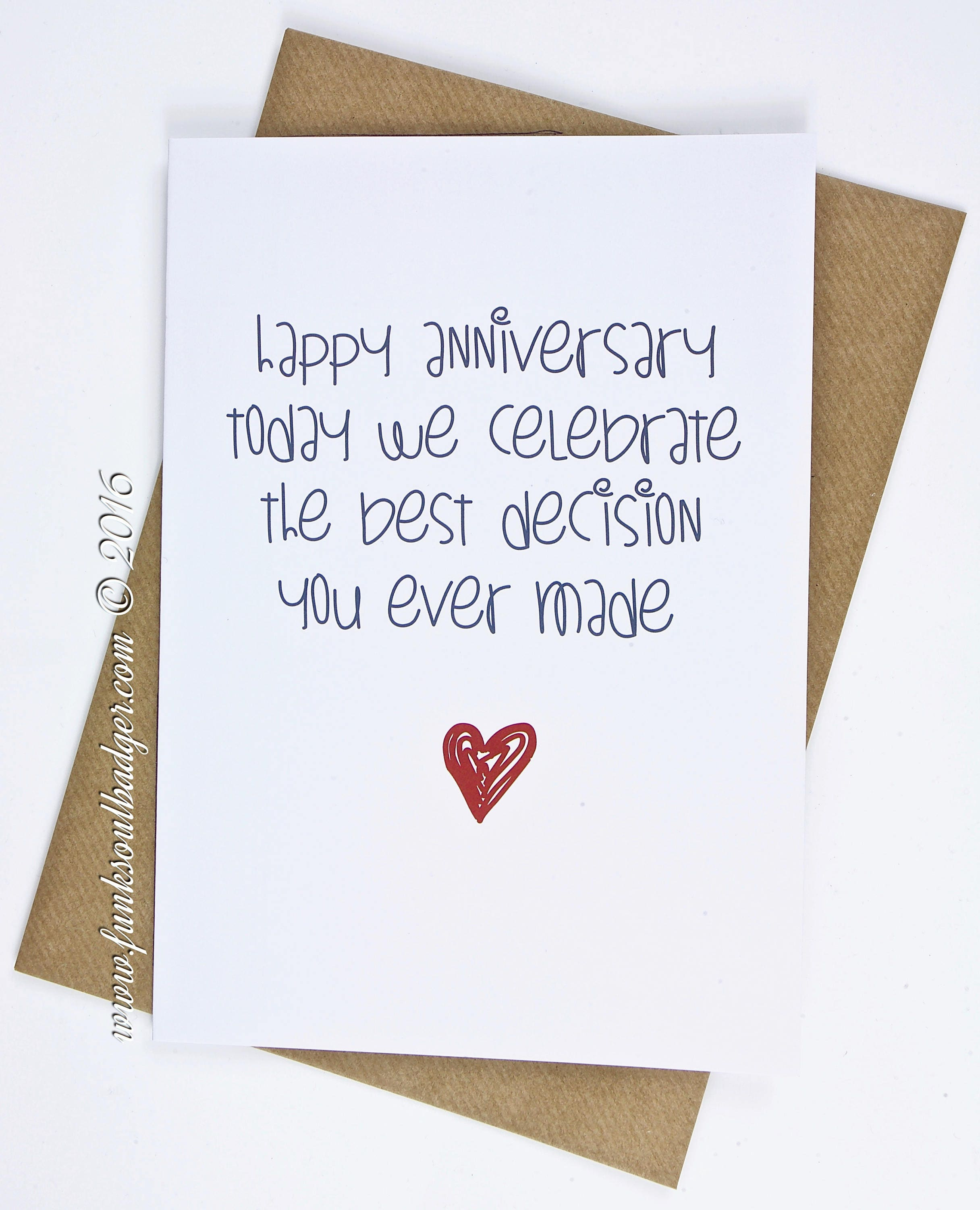 Funny Anniversary Card Today We Celebrate The Best Decision Etsy