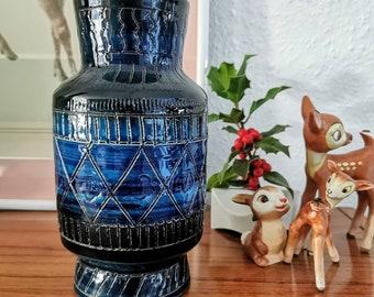 Rare Bitossi Vase in Beautiful Dark Blue, Bitossi Italy,Rimini Blue, Aldo Londi Jug, Vase made in Italy