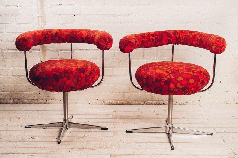 2 Lounge Chairs Von Tamburin Möbel Mid Century Drehstuhl Etsy