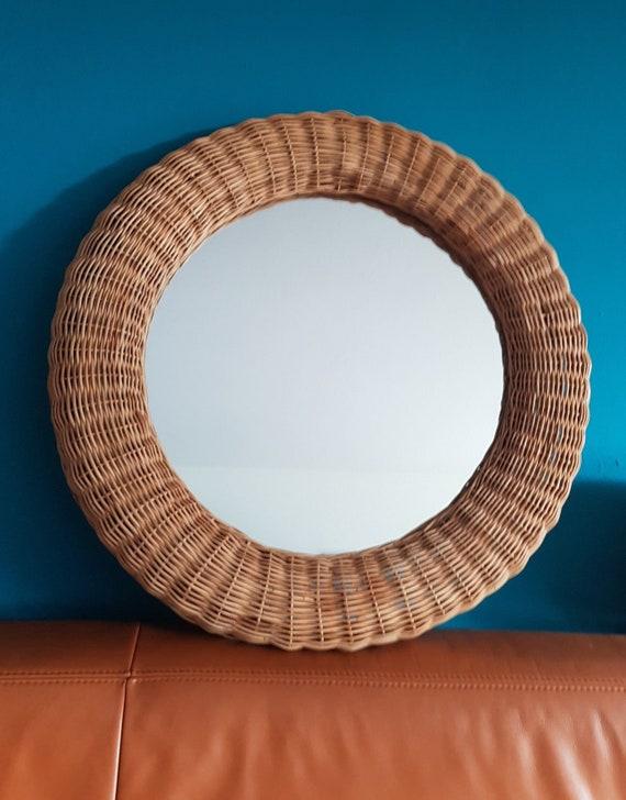 Sensationeller Großer Runder Spiegel Aus Rattangeflecht True Vintage Großer Runder Wicker Spiegel Aus Korbgeflecht Boho Style Spiegel