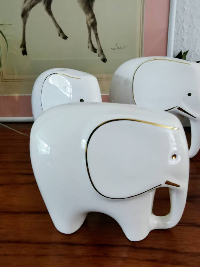 Mid Century Modern Porcelain Elephant Herd Vintage Elephants Ceramic Elephants Porcelain Elephants Set of 3