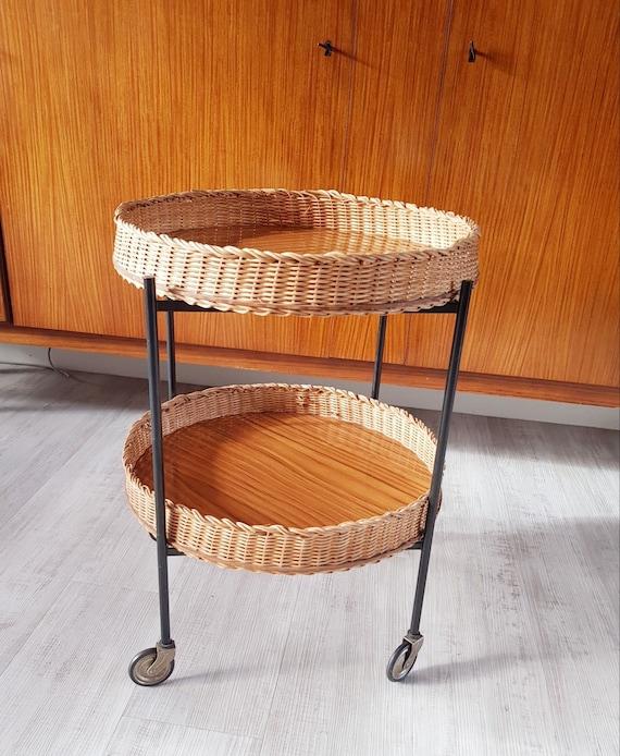 Round Tea Cart, Bar Cart, Serving Trolley, Vintage bar table, Roller cart,  Bamboo roller cart, bar Cart, Bamboo cart, Serving Trolley, Living room bar