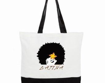 LATINA | BORICUA Two-Tone Deluxe Classic Cotton Canvas Tote Bag