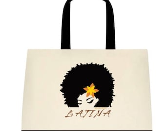 LATINA Two-Tone Deluxe Classic Cotton Canvas Tote Bag