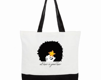 all hair is good hair/todo pelo es pelo bueno Two-Tone Deluxe Classic Cotton Canvas Tote Bag