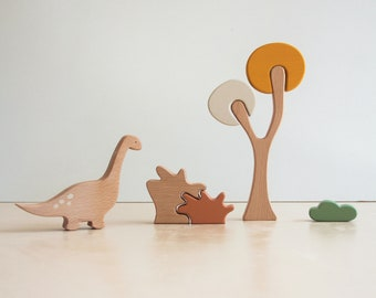 Dinosaur tree puzzle - Autumn tree