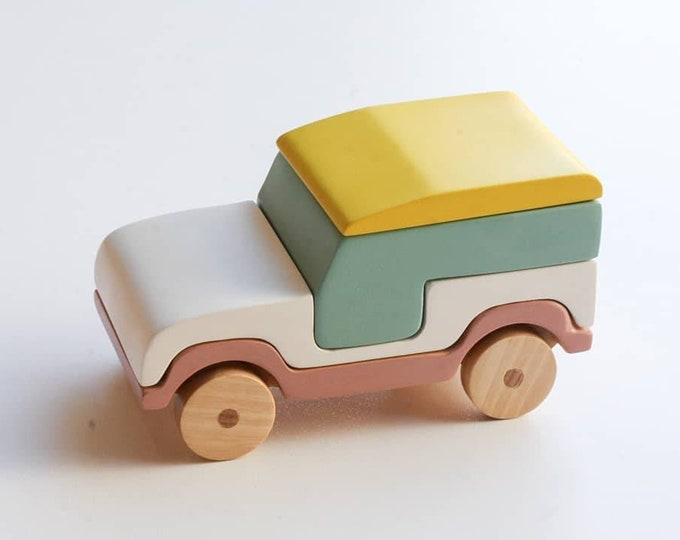 Featured listing image: Handmade wooden stacking toy, jeep