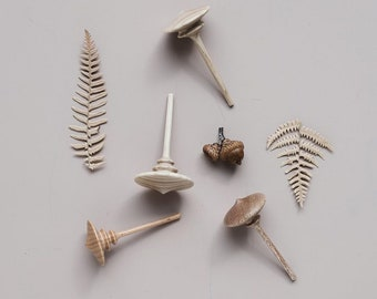 Handmade  wooden spinning tops.