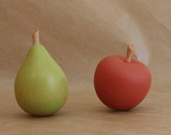 Handmade wooden fruit set