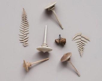 Handmade  wooden spinning tops.