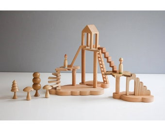 Wooden tree house play set.