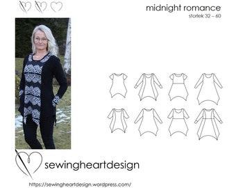 PDF pattern. Midnight Romance Tunic/Dress. Size 32-60